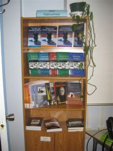 A display of Nunavut Arctic College publications at the Kitikmeot Campus Library. Photo by Leigh Ann Cumming